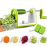 Bonsenkitchen Vegetable Spiralizer Slicer, 5 Blades Spiral Cutter Slicer for Veggie Spaghetti Pasta, Salad with Food Container, Powerful Suction Pad for Low Carb/Paleo/Gluten-Free Meals