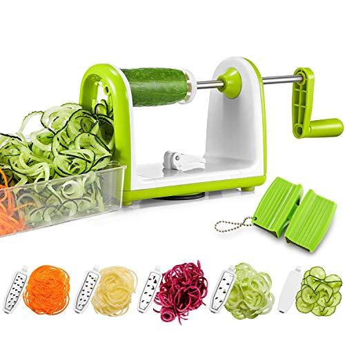 - Bonsenkitchen Vegetable Spiralizer Slicer, 5 Blades Spiral Cutter Slicer for Veggie Spaghetti Pasta, Salad with Food Container, Powerful Suction Pad for Low Carb/Paleo/Gluten-Free Meals (5 Blades Spiralizer Slicer with Knife Sharpener)