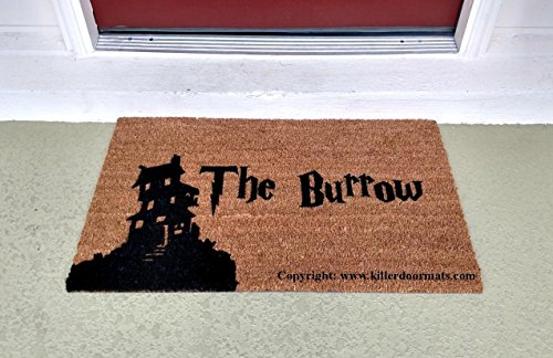 The Burrow House Silhouette Fandom Doormat, Size Large - Welcome Mat - Doormat - Custom Hand Painted Doormat by Killer Doormats