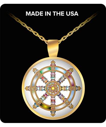 (Buddha Necklace Pendant - Dharma Wheel Dharmachakra Buddhist Symbol - Sanscrit Teaching of Siddhartha Gautama Buddha on Nirvana - Spiritual Buddhism Art Charm)