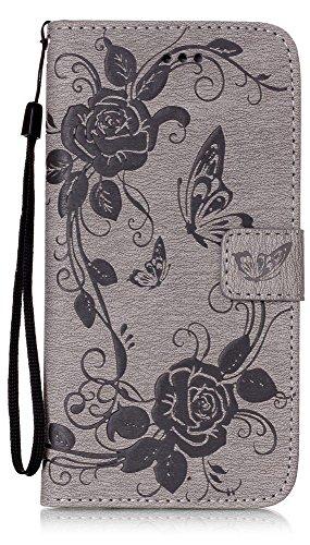 iPhone 8 Plus Wallet Case, iPhone 7 Plus Case, 7 Plus Case, JanCalm [Wrist Strap] Premium PU Leather [Multi Card/Cash Slots] Stand Flip Cover - Crystal Pen (Butterfly - Grey)