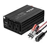Bapdas 300W Power Inverter DC 12V to AC 110V Converter with 2 AC 110V US Sockets and 4.2A 2 USB Ports Car Charger-Black