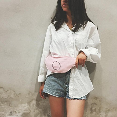 Waist Chest Pink Belt Ecotrump Pouch Pack Casual Women Bag Canvas Shoulder Fanny Satchel 15wqZT