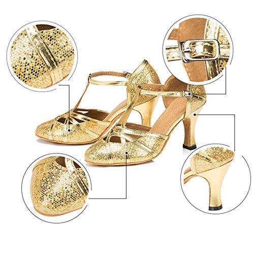 Medio Botines 8CM De De UK7 Las De Mujeres L 255mm PENGFEI Colores Latino EU41 Tamaño Cómodo Baile Silver8CM Gold6CM 2 Zapatos Color Baile Talón Salón 6 Baile UnfwnXYqpx