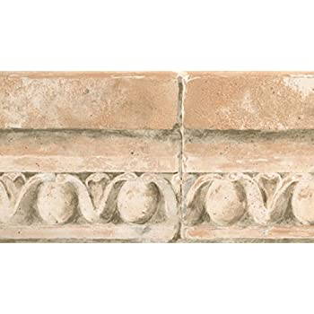 Vintage faux crown molding distressed light brown wallpaper border retro design roll 15 39 x 5 - Crown molding wallpaper ...