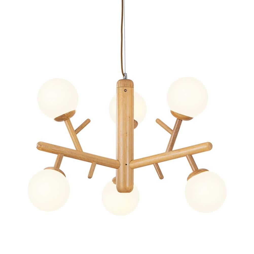 雪丽的家居 6ピースガラス器具和風木製ペンダントライト家の装飾ハングランプクリエイティブ寝室のシーリングライト   B07TS1YZFQ