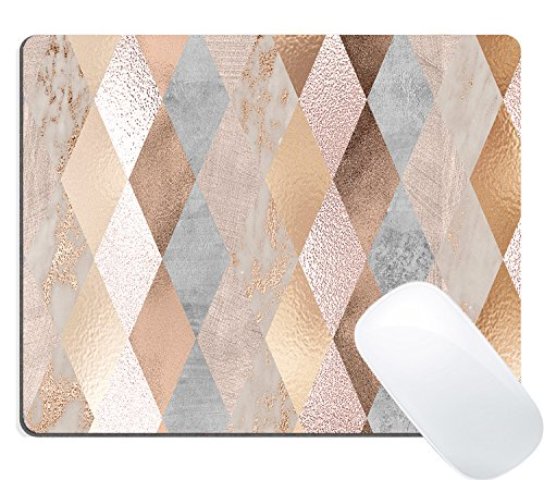 Wknoon Gaming Mouse Pad Custom, Cool Copper and Rose Gold Marble Geometric Diamond Design