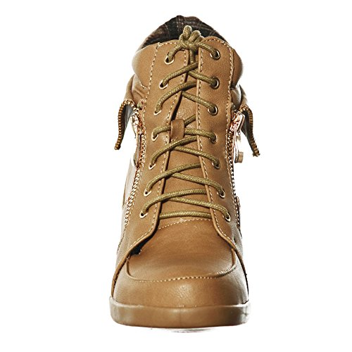 Fashion shoewhatever Camelab2 Women's Pl Lace Sneakers Wedge up Hi Top OAwTqy0A