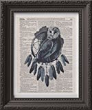 Dictionary Art Print - Dream Catcher Owl - Handmade 8x10in Poster Print - Vintage Dictionary Art - Upcycled Authentic Dictionary Pages
