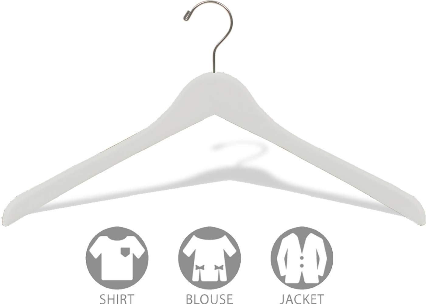 by The Great American Hanger Company XL407RMN-025 White Concave Wooden Top Hanger Thick Curved Coat Hangers with Matte Nickel Swivel Hook for Jackets or Fine Shirts Set of 25