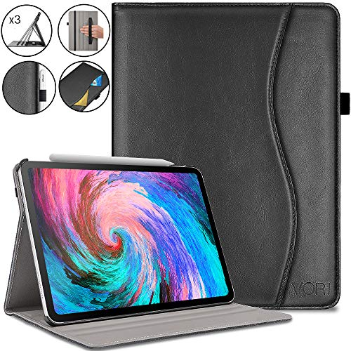 (VORI Case for iPad Pro 11 inch 2018, Premium Leather Smart Shell with Hand Strap, Multi Angle Viewing Folio Cover with Pocket and Auto Wake/Sleep Support 2nd Gen Pencil Charging for iPad 11