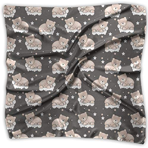 Bandana Head and Neck Tie Neckerchief,Adorable Teddy Bears Sleeping On Clouds With Stars And Dots Night Time -