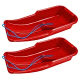 CrazyGadget Snow Bullet Deluxe Speedstar Heavy Duty Sledge Toboggan Sleigh Sled Rope Plastic Unisex Kids Adults Ski Fun Board - Available in Blue & Red (Red x 2)