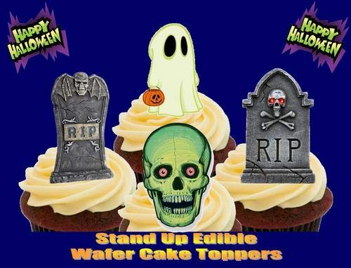 HALLOWEEN RIP GRAVESTONES GHOST SKULL MIX - 12 Edible Stand Up Premium Wafer Cake Toppers ()