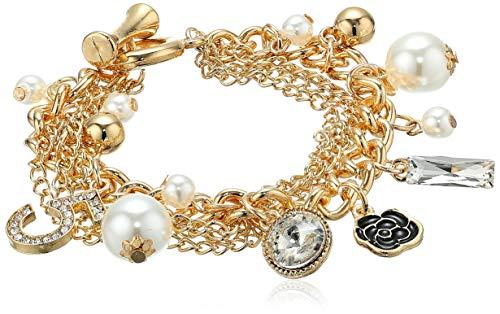 - Fashion Jewelry MISASHA Logo Gold Tone Chain Inspired Boho Chic Charm Bracelet for Women (Clover)