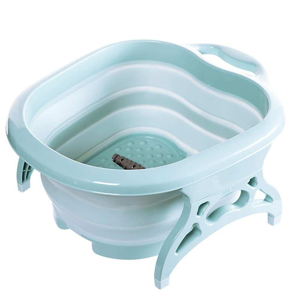 Qi Peng Outdoor Collapsible Water Basin Travel Foam Foot Bucket Portable Outdoor Foot Bath Barrel Travel Home Travel Wash Basin -# (Color : Blue)