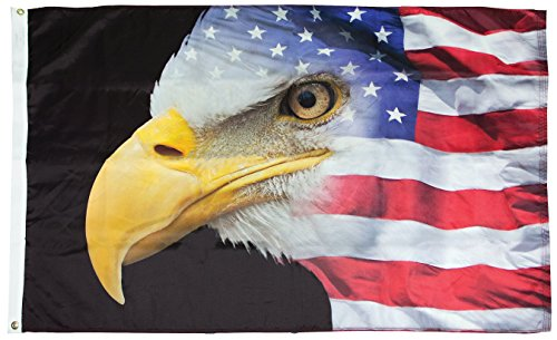 FlagSource US Flag with Eagle Nylon Decorative Flag, Made in The USA, 3x5'