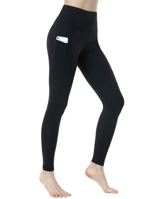 TSLA TM-FYP74-BLK_Large Nyloskin Yoga Pants High-Rise ATY Tummy Control w Side Pockets FYP74