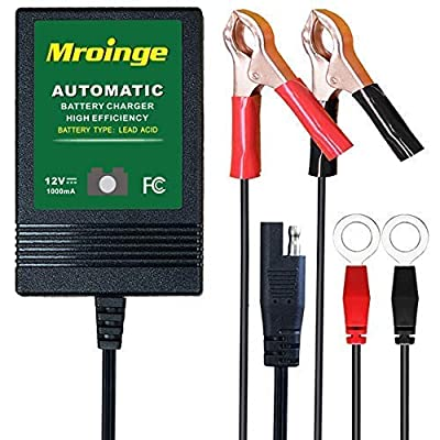 Mroinge Automotive Trickle Battery Charger Maintainer 6V 12V Automatic Smart for Auto Car Motorcycle Lawn Mower Sla Atv Agm Gel Cell Lead Acid Batteries