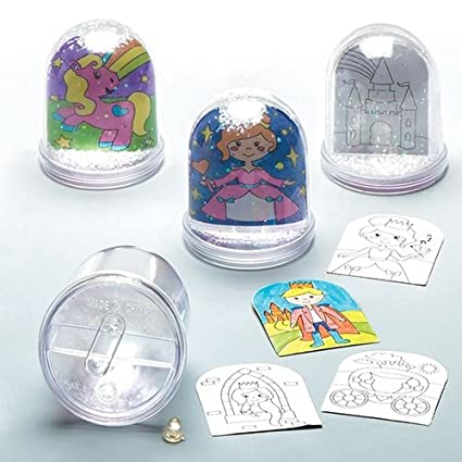Amazon.com: Baker Ross Princess Colour-in Snow Globe (Box 4) Kids to ...