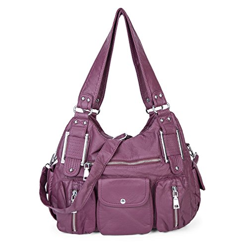 Shoulder Bag Purse Soft Large Capacity Tote Bag Washed PU Leather Cross Body Handbag for Women Purple