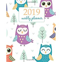 2019 Weekly Planner: Calendar Schedule Organizer Appointment Journal Notebook and Action day cute owls design