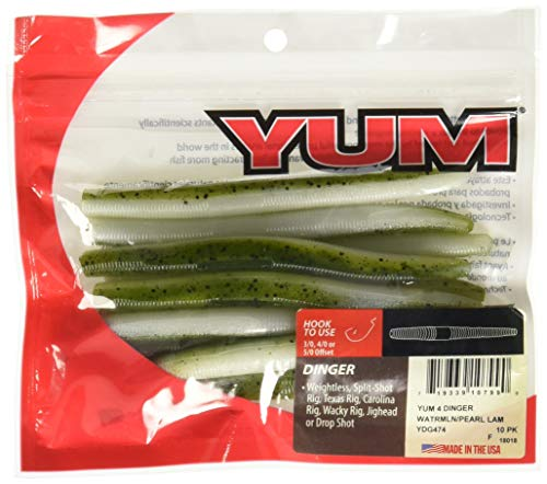 (Yum Lures YDG474 Dinger Fishing Bait, Watermelon/Pearl Lam, 4