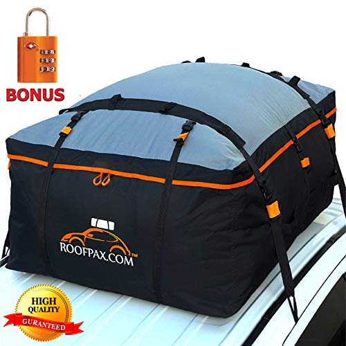 RoofPax Car Roof Bag & Rooftop Cargo Carrier – 15 Cubic Feet Heavy Duty Bag, 100% Waterproof Excellent Military Quality Roof-Top Car Bag - Fits All Cars with/Without Rack - 4 Door Hooks Included