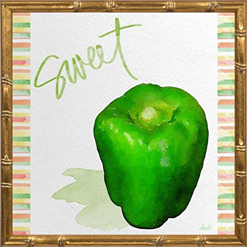 Watercolor Pepper III by Metz, Andi: Gold Bamboo