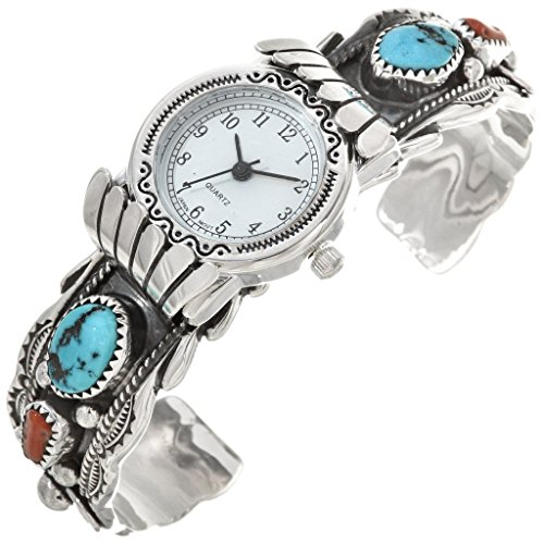 Old Pawn Turquoise Coral Silver Watch Cuff Sleeping Beauty Sterling Ladies Bracelet One-of-a-Kind 0068 ()
