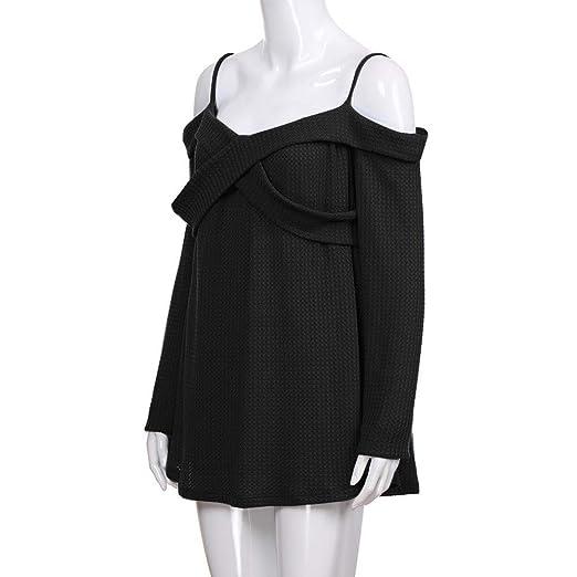 Manga Larga de Mujer Hombro frío Pure Color Tops Suéter Casual Camisa Blusa de Gasa ❤ Manadlian: Amazon.es: Ropa y accesorios