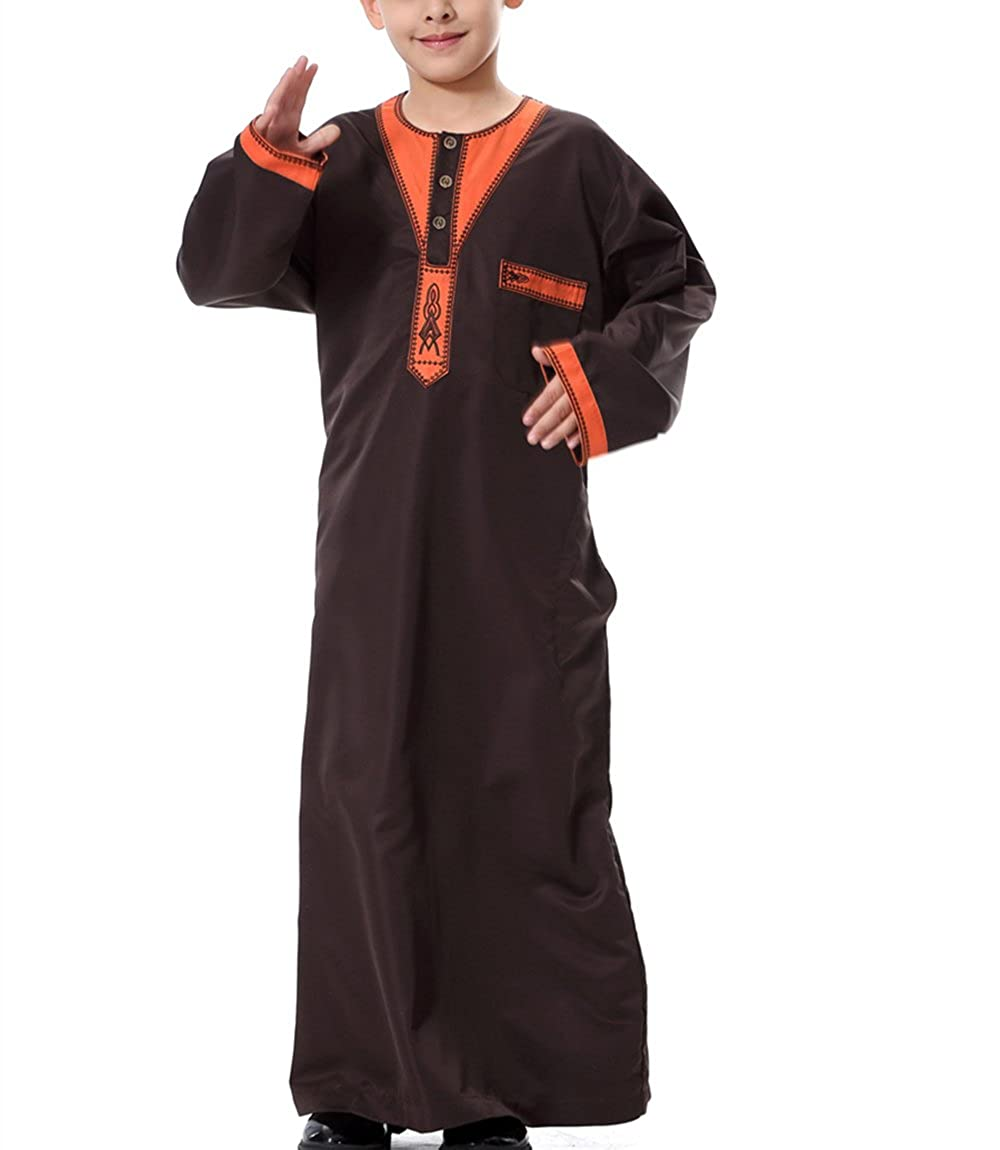 zhxinashu Traditional Fashion Boy's Muslim Arab Long Sleeves Kids Clothing S-XXXL