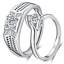 Infinite U Couple's 925 Sterling Silver Cubic Zirconia Adjustable Ring