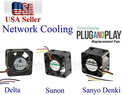 4 Pack Extra-Cooling Quiet Version Replacement Sunon Fans for Cisco SG300-52MP 13~18dBA Noise