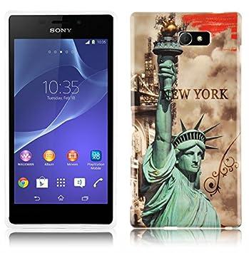 Cadorabo de de 102054 Sony Xperia M2 Teléfono Móvil En el diseño con Texto Impreso Carcasa Bumper Back Case Cover New York – Estatua de la Libertad