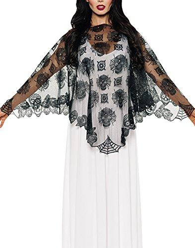 Women's Day of The Dead Lace Poncho - Dia de Los Muertos Accessories ()