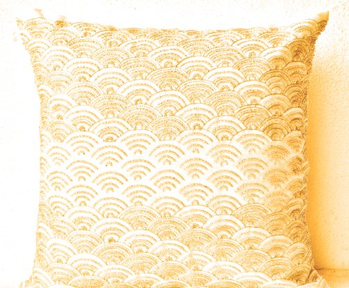 Amore Beaute Handmade Decorative throw pillow covers- Cream throw pillows with detailed hand embroidered waves- Japanese pattern pillow- 16x16 pillow covers- Hand embroidered pillows- gold pillows- Art silk dupioni pillow ()