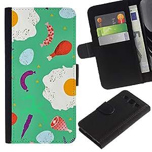 KLONGSHOP / Tirón de la caja Cartera de cuero con ranuras para tarjetas - Food Teal Abstract Chef Cook Abstract - Samsung Galaxy S3 III I9300