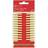 24 x Gold or Silver Christmas Card Holder Pegs & 3 Metres of String (Gold)