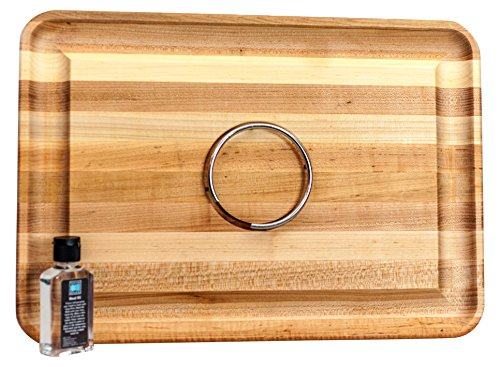 Snow River Wood 7V03876DS Carving Board with Stainless Steel Ring and Juice Well 14