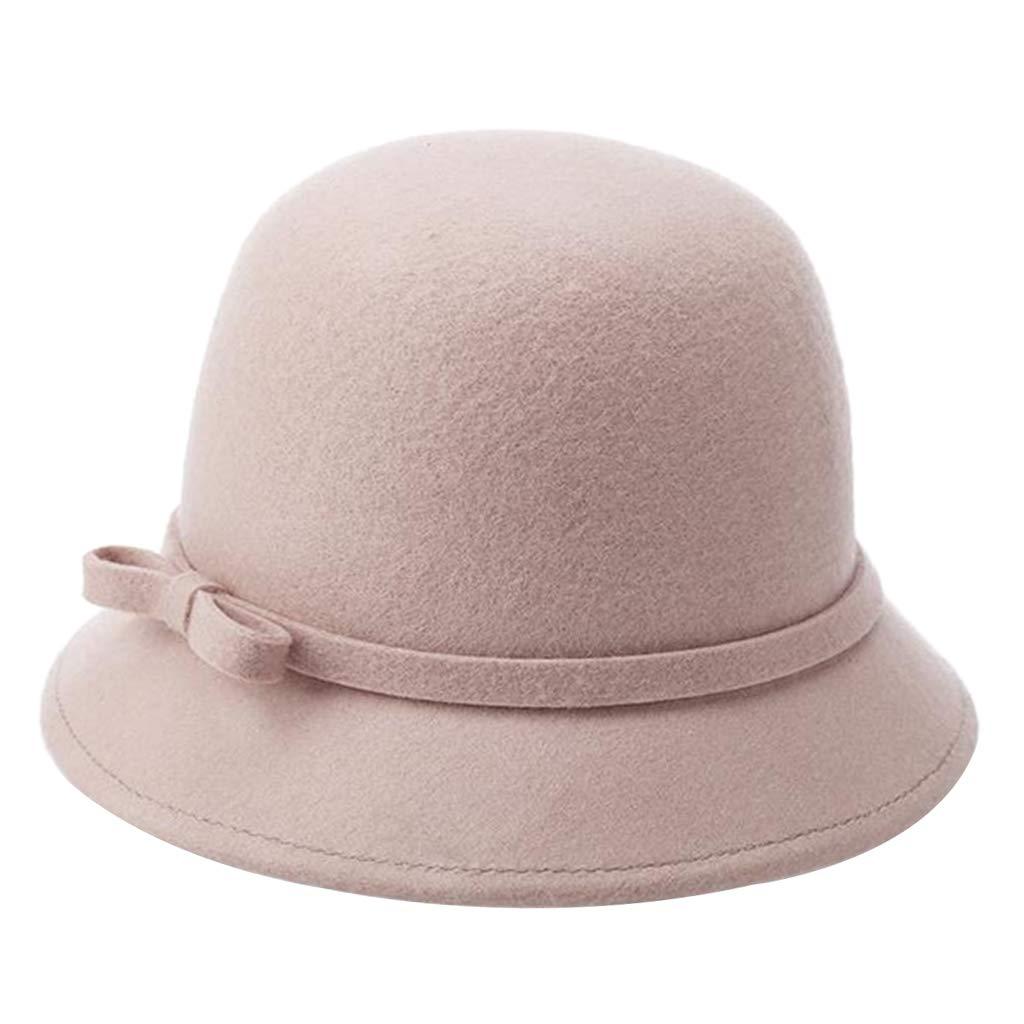 Caqui IPOTCH Sombrero de Mujer de Fieltro de Lana Cap Mujer Gorro Retro Brit/ánico Tapas de ala Ancha Oto/ño e Invierno Color