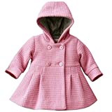LSERVER Babay Girls Hooded Warm Wool Cotton Jacket Trench Coat Outwear Pink 80