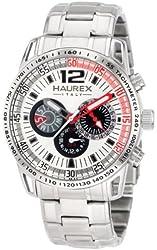 Haurex Italy Men's 7A367USR Talento Dual Time Silver Dial Steel Bracelet Sport Watch