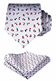 HISDERN Men's Floral Tie Handkerchief Wedding Party Necktie & Pocket Square Set White