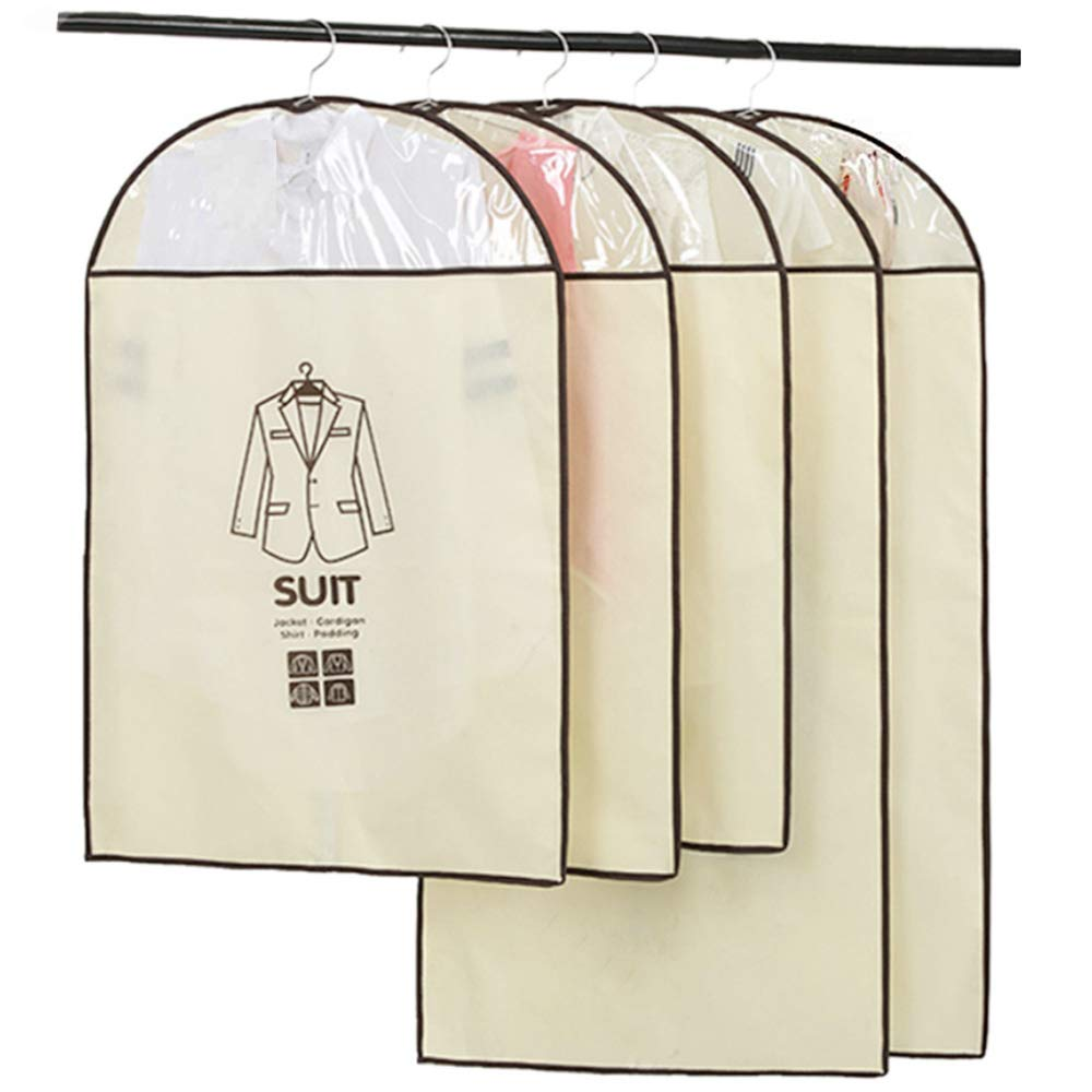 Breathable Garment Bag Suit Bag with Full Zipper & Eyehole & Clear PVC Window for Folding for Suit Carriers, Dresses, Storage or Travel by Daint Pack of 5 (35''x 3PCS + 47''x 2PCS) (Cream Colored)