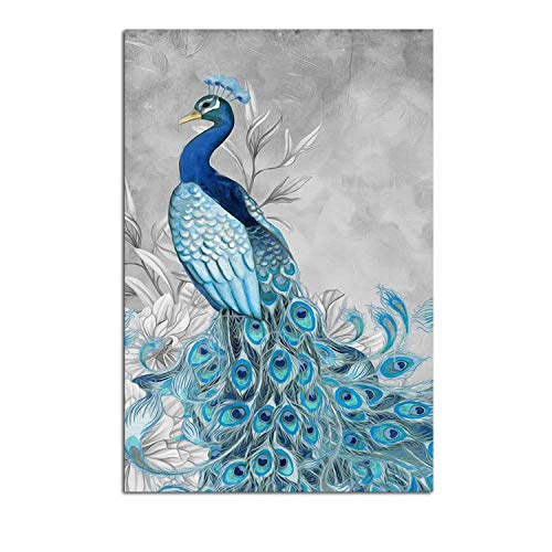 Best Roman Friend Vertical Picture Frames - 3 Pieces Watercolor Blue Peacock Animal