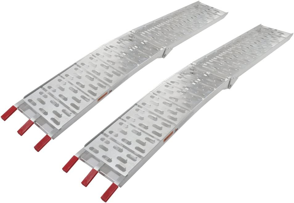 Set of 2 Motorhot 7.5 ft Ramps for Heavy Duty ATV UTV Aluminum Plate Top Lawnmower Truck Folding Loading Ramps Trailer