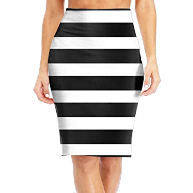 1379a36ef8 Amazon.com: DQSSX SK Black White Striped Gril/Women/Lady High Waist Band  Bodycon Career Office Midi Pencil Skirt: Clothing