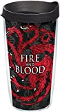 Tervis 1242894 Game of Thrones - House Targaryen Tumbler with Wrap and Black Lid 16oz, Clear