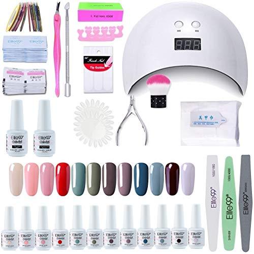 Elite99 Lámpara UV LED para Uñas 24w, 12 Colores Kit de Esmaltes Semipermanentes en Gel UV LED, Base y Top Coat…